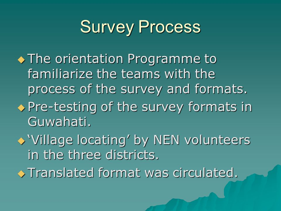 Survey Process  The orientation Programme to familiarize the teams with the process of the survey and formats.