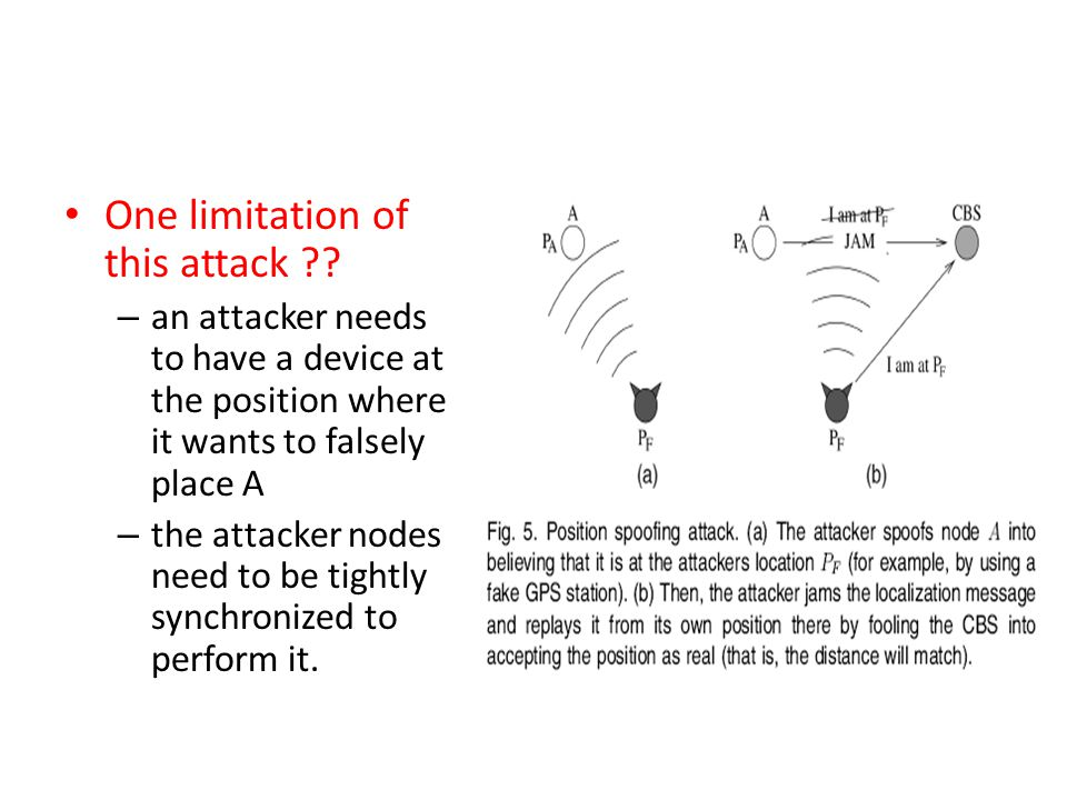 One limitation of this attack ?? – an attacker needs to have a device at the position where it wants to falsely place A – the attacker nodes need to b