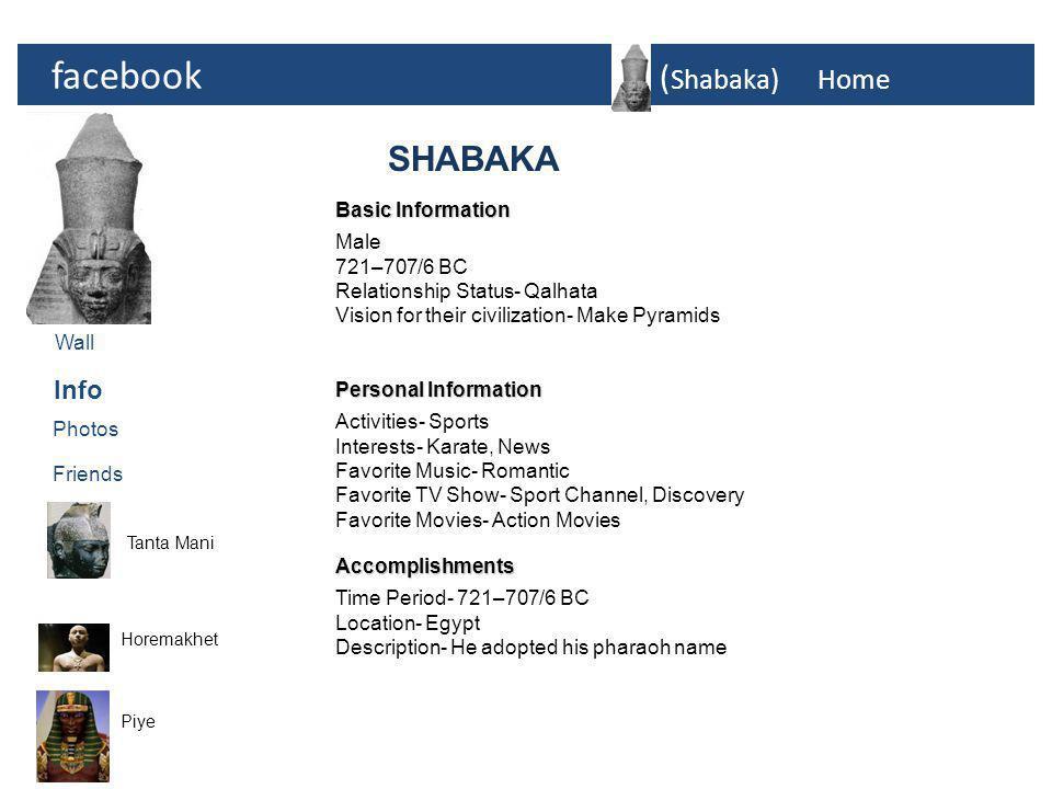 facebook ( Shabaka)Home Photos Tanta Mani Horemakhet Info Friends (SHABAKA)  Photos Wall Piye (SHABAKA)