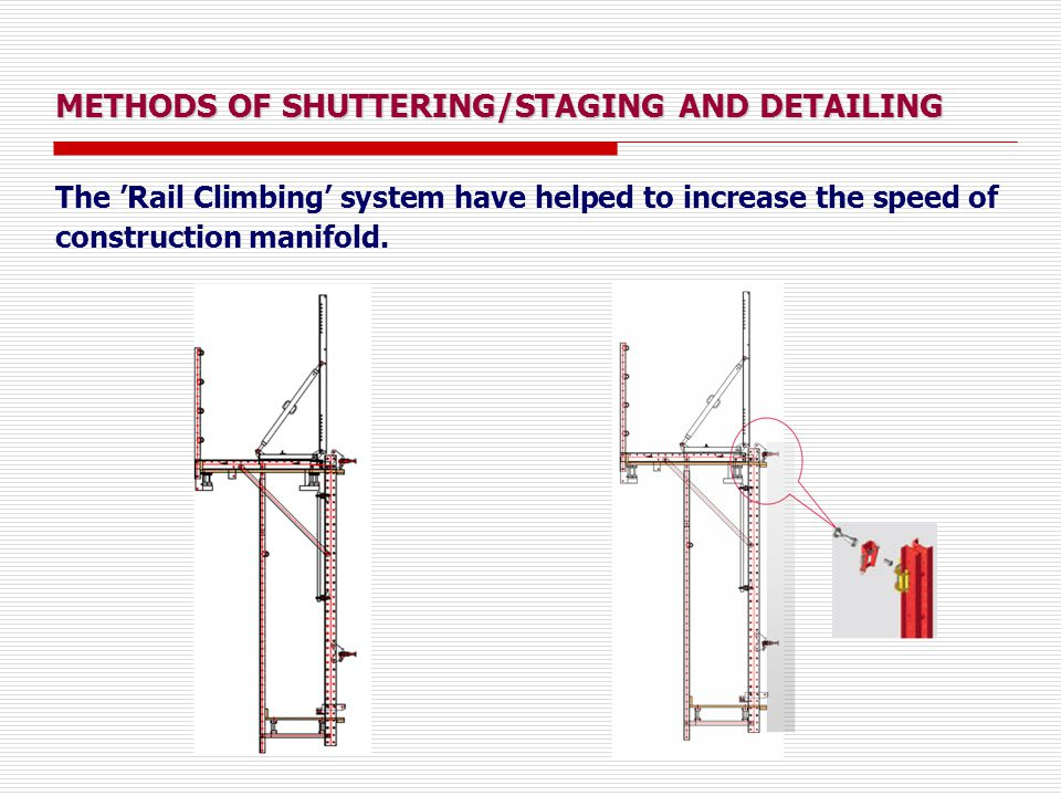 METHODS OF SHUTTERING/STAGING AND DETAILING The 'Rail Climbing' system have helped to increase the speed of construction manifold.