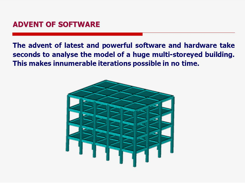 ADVENT OF SOFTWARE The advent of latest and powerful software and hardware take seconds to analyse the model of a huge multi-storeyed building. This m