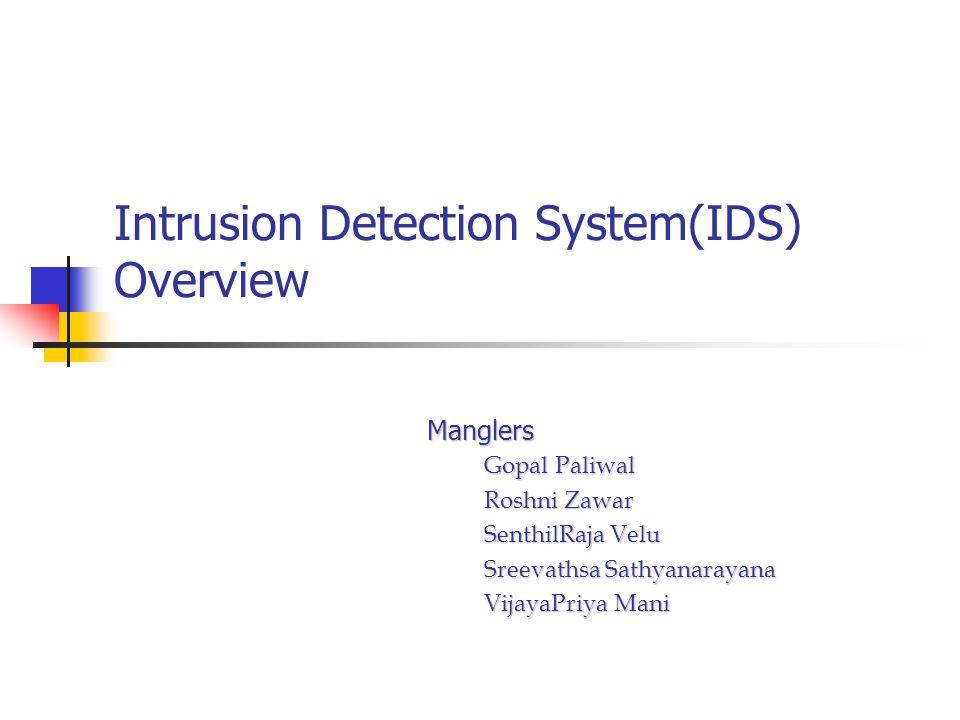 Intrusion Detection System(IDS) Overview Manglers Gopal Paliwal Gopal Paliwal Roshni Zawar Roshni Zawar SenthilRaja Velu SenthilRaja Velu Sreevathsa Sathyanarayana Sreevathsa Sathyanarayana VijayaPriya Mani VijayaPriya Mani