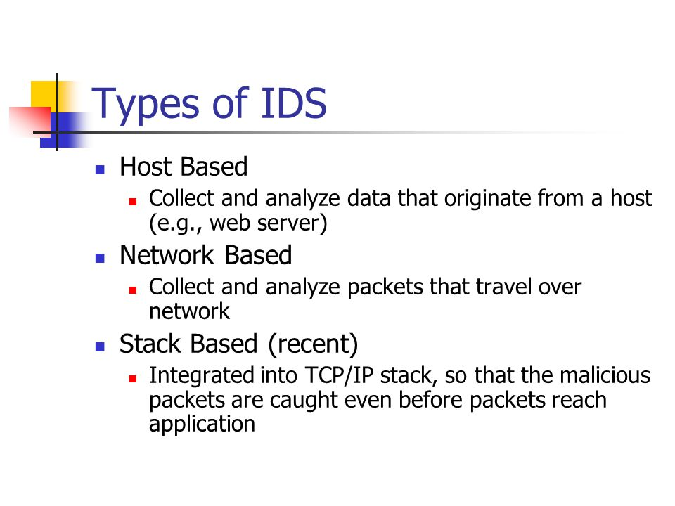 Types of IDS Host Based Collect and analyze data that originate from a host (e.g., web server) Network Based Collect and analyze packets that travel over network Stack Based (recent) Integrated into TCP/IP stack, so that the malicious packets are caught even before packets reach application