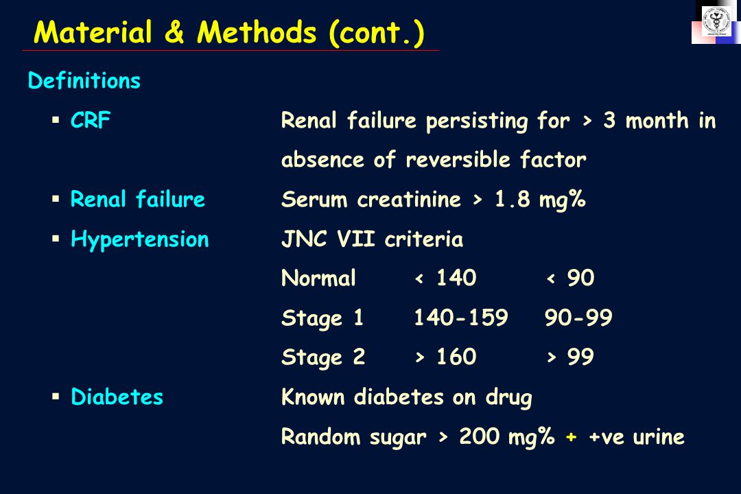Definitions  CRFRenal failure persisting for > 3 month in absence of reversible factor  Renal failureSerum creatinine > 1.8 mg%  HypertensionJNC VII criteria Normal< 140< 90 Stage 1140-15990-99 Stage 2> 160> 99  DiabetesKnown diabetes on drug Random sugar > 200 mg% + +ve urine Material & Methods (cont.)