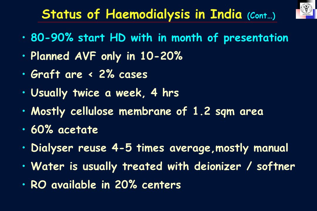 Status of Haemodialysis in India (Cont…) 80-90% start HD with in month of presentation Planned AVF only in 10-20% Graft are < 2% cases Usually twice a