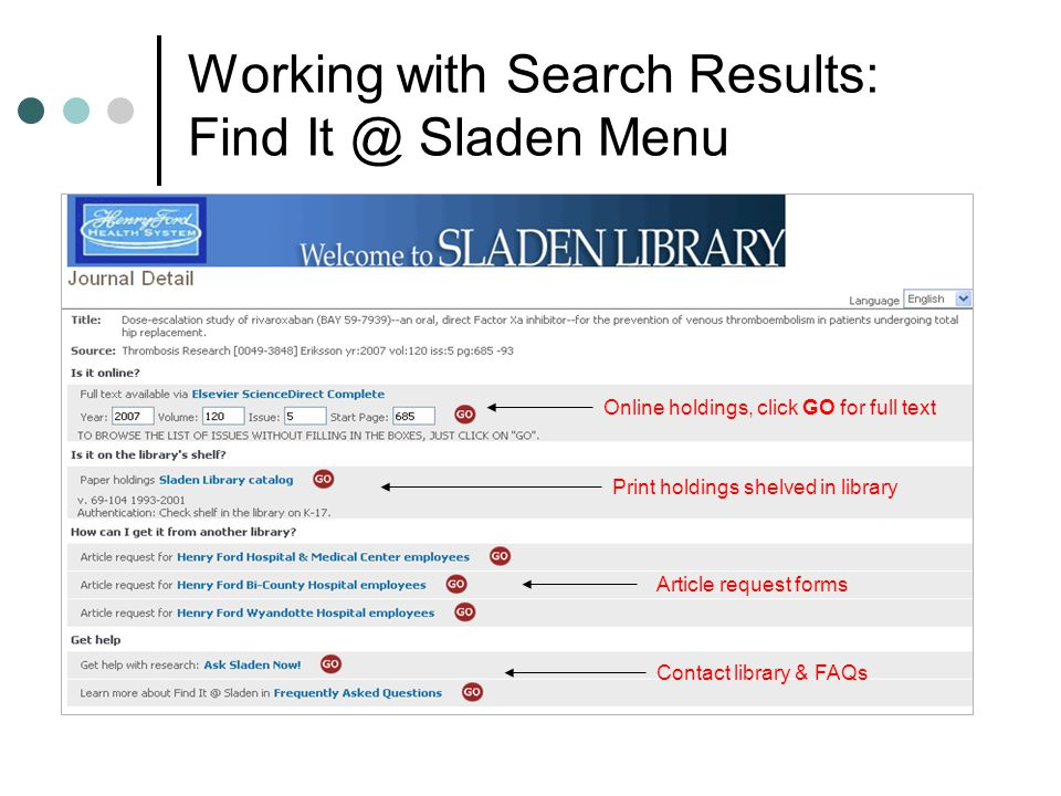 Working with Search Results: Find It @ Sladen Menu Online holdings, click GO for full text Print holdings shelved in library Article request forms Contact library & FAQs