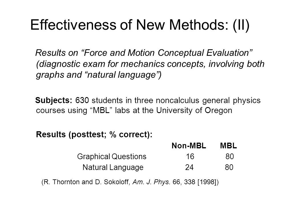 "Effectiveness of New Methods: (II) Results on ""Force and Motion Conceptual Evaluation"" (diagnostic exam for mechanics concepts, involving both graphs"