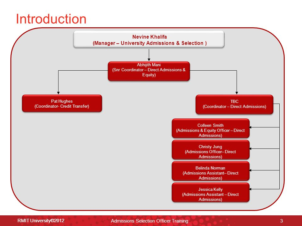 RMIT University©2012 14 How to enter selection decisions 1.