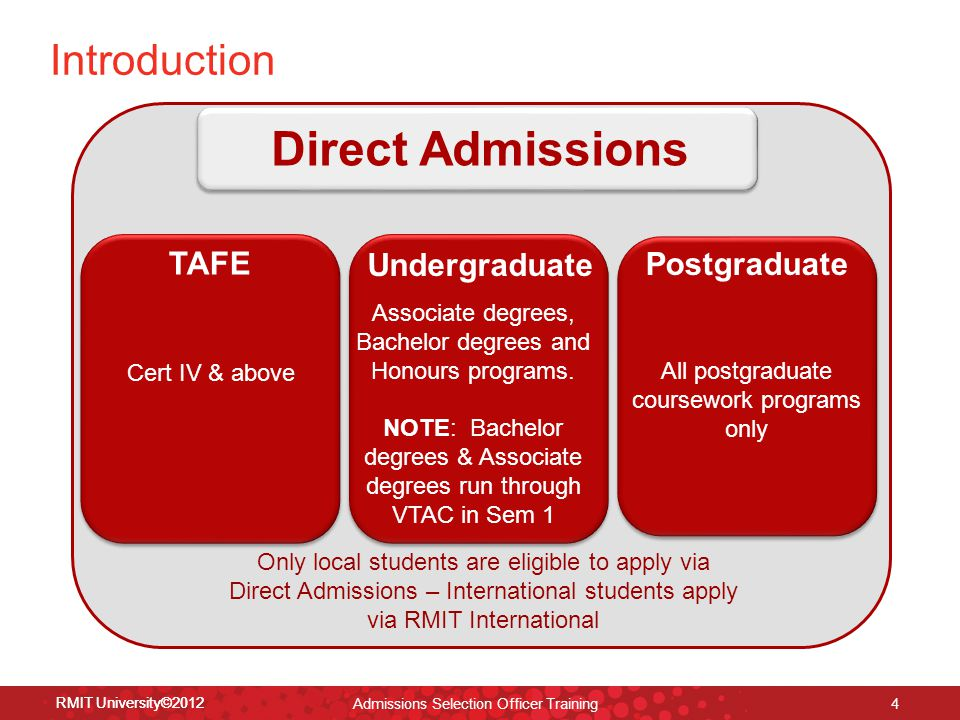 RMIT University©2012 4 Introduction TAFE Cert IV & above Undergraduate Associate degrees, Bachelor degrees and Honours programs.