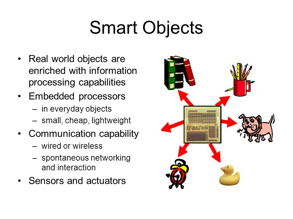 Smart Objects Real world objects are enriched with information processing capabilities Embedded processors –in everyday objects –small, cheap, lightweight Communication capability –wired or wireless –spontaneous networking and interaction Sensors and actuators