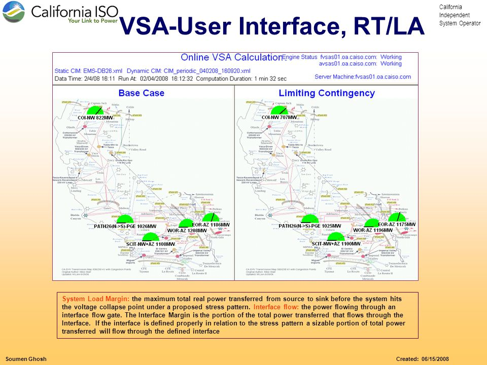 California Independent System Operator Soumen Ghosh Created: 06/15/2008 System Load Margin: the maximum total real power transferred from source to sink before the system hits the voltage collapse point under a proposed stress pattern.