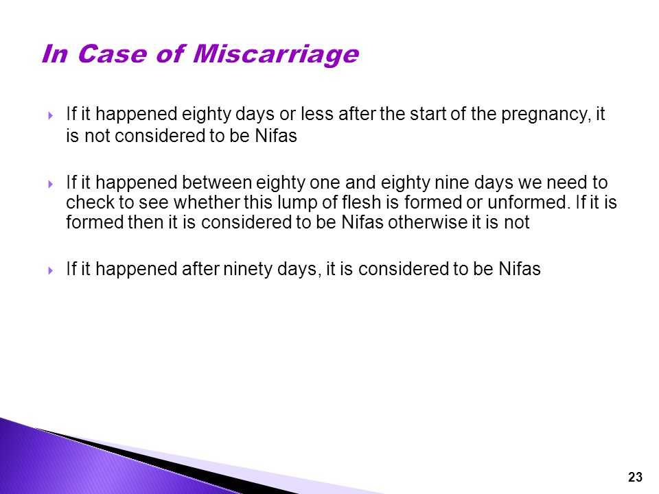 23  If it happened eighty days or less after the start of the pregnancy, it is not considered to be Nifas  If it happened between eighty one and eig