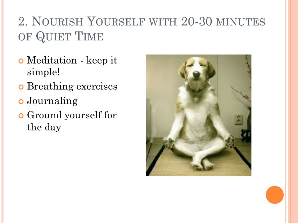 2. N OURISH Y OURSELF WITH 20-30 MINUTES OF Q UIET T IME Meditation - keep it simple! Breathing exercises Journaling Ground yourself for the day