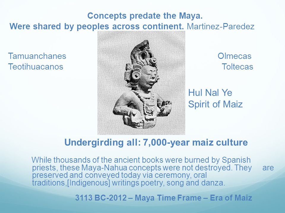 Concepts predate the Maya. Were shared by peoples across continent.