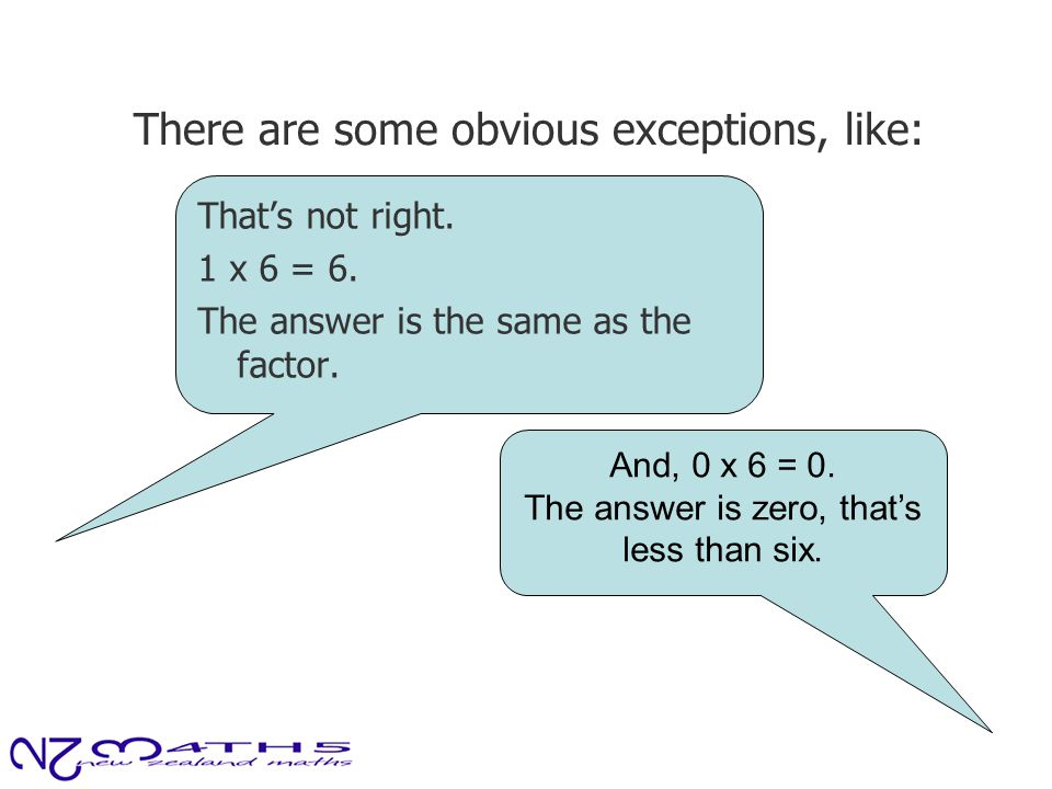 There are some obvious exceptions, like: That's not right. 1 x 6 = 6. The answer is the same as the factor. And, 0 x 6 = 0. The answer is zero, that's