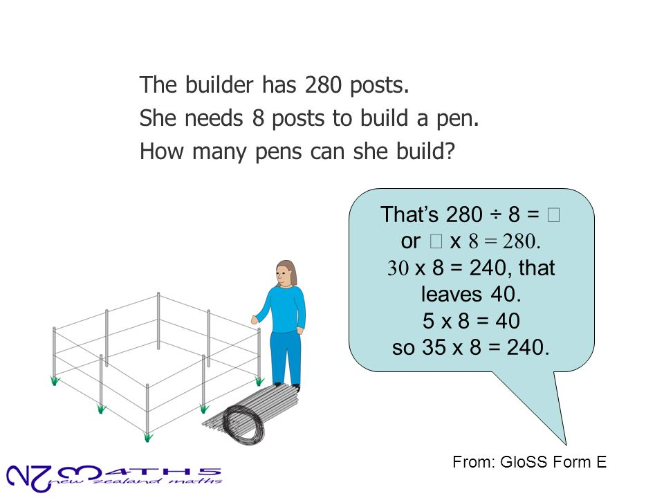 The builder has 280 posts. She needs 8 posts to build a pen. How many pens can she build? That's 280 ÷ 8 =  or  x 8 = 280. 30 x 8 = 240, that leaves