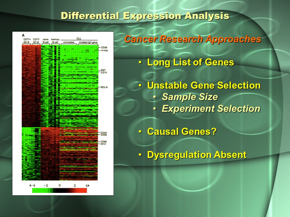 Differential Expression Analysis Cancer Research Approaches Long List of Genes Long List of Genes Unstable Gene Selection Unstable Gene Selection Samp