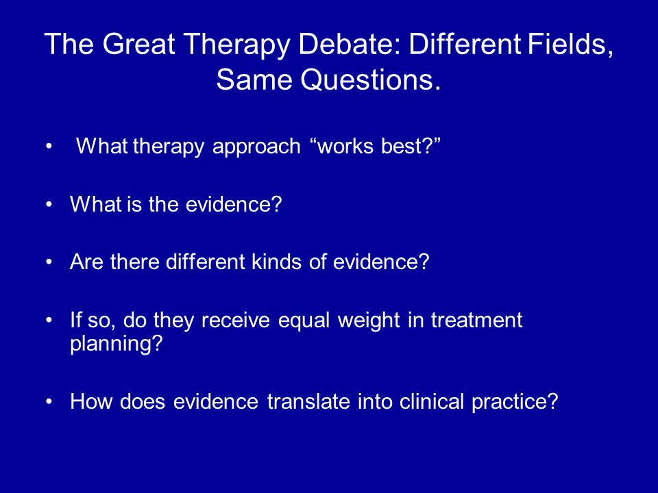 The Great Therapy Debate: Different Fields, Same Questions.
