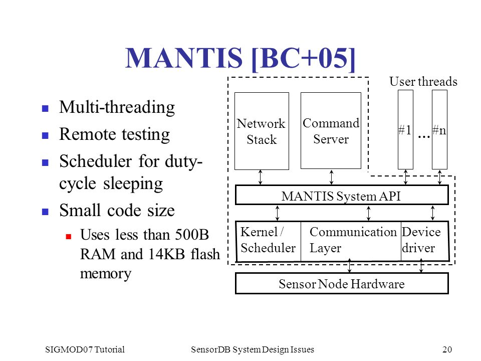 SIGMOD07 TutorialSensorDB System Design Issues20 MANTIS [BC+05] Multi-threading Remote testing Scheduler for duty- cycle sleeping Small code size Uses less than 500B RAM and 14KB flash memory Device driver Communication Layer Kernel / Scheduler Sensor Node Hardware MANTIS System API #1 User threads #n … Network Stack Command Server