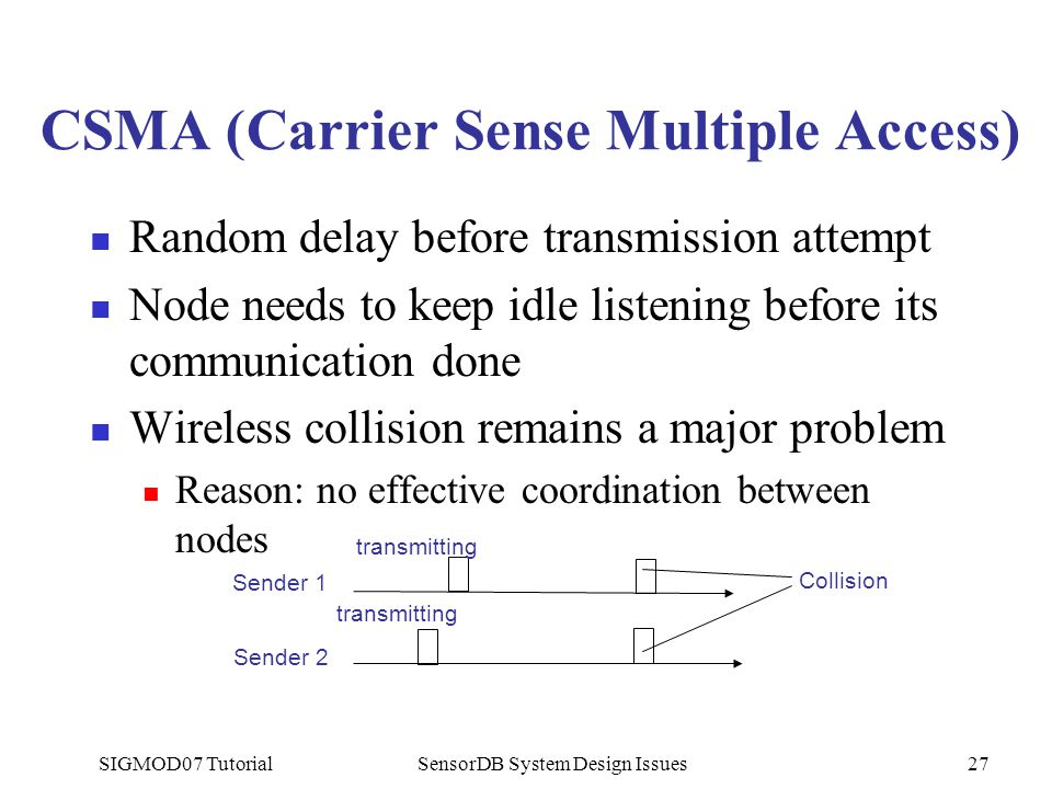 SIGMOD07 TutorialSensorDB System Design Issues27 CSMA (Carrier Sense Multiple Access) Random delay before transmission attempt Node needs to keep idle listening before its communication done Wireless collision remains a major problem Reason: no effective coordination between nodes Sender 1 Sender 2 transmitting Collision