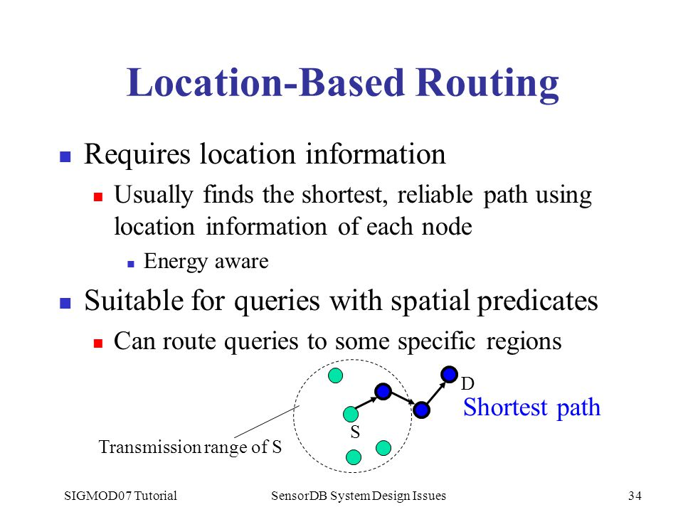 SIGMOD07 TutorialSensorDB System Design Issues34 Location-Based Routing Requires location information Usually finds the shortest, reliable path using