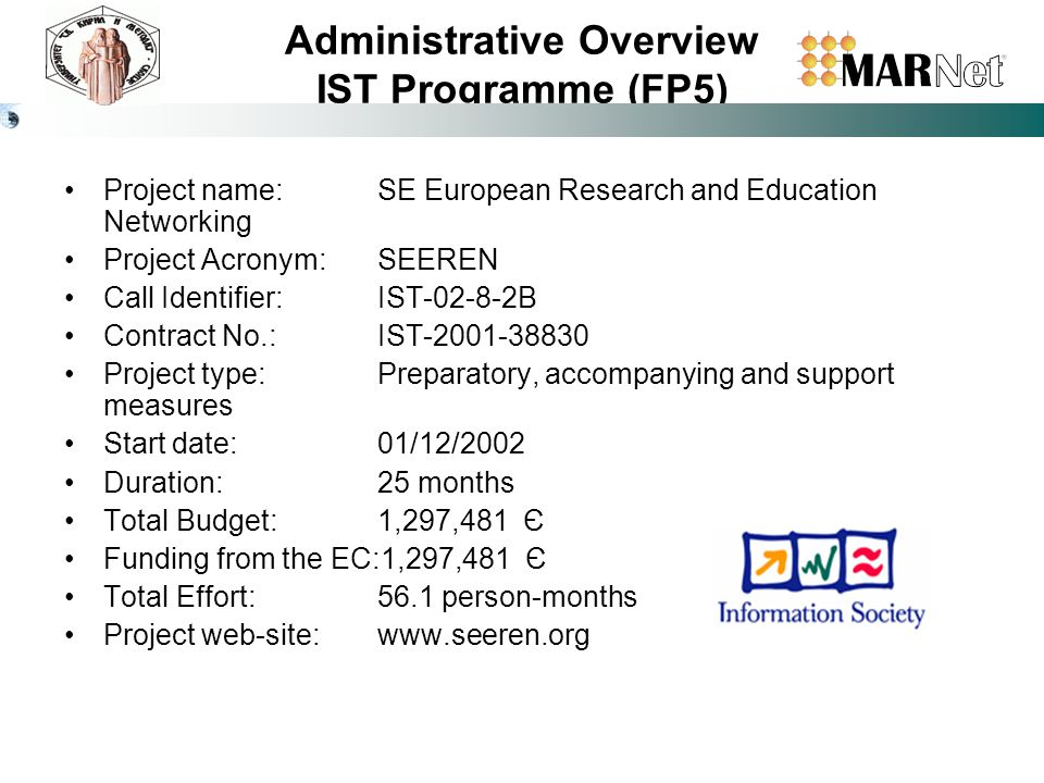 Administrative Overview IST Programme (FP5) Project name: SE European Research and Education Networking Project Acronym:SEEREN Call Identifier:IST-02-8-2B Contract No.: IST-2001-38830 Project type: Preparatory, accompanying and support measures Start date: 01/12/2002 Duration:25 months Total Budget: 1,297,481 Є Funding from the EC:1,297,481 Є Total Effort: 56.1 person-months Project web-site:www.seeren.org