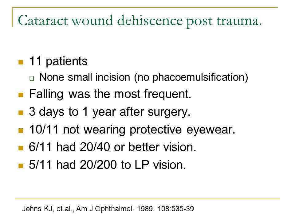 Cataract wound dehiscence post trauma.