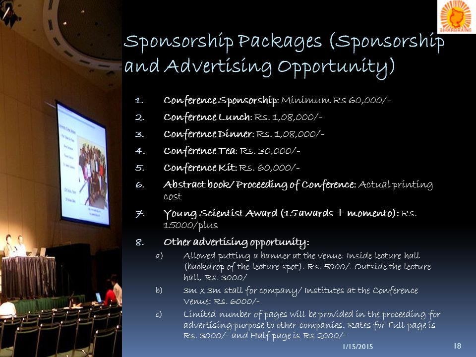 1/15/2015 18 Sponsorship Packages (Sponsorship and Advertising Opportunity) 1.