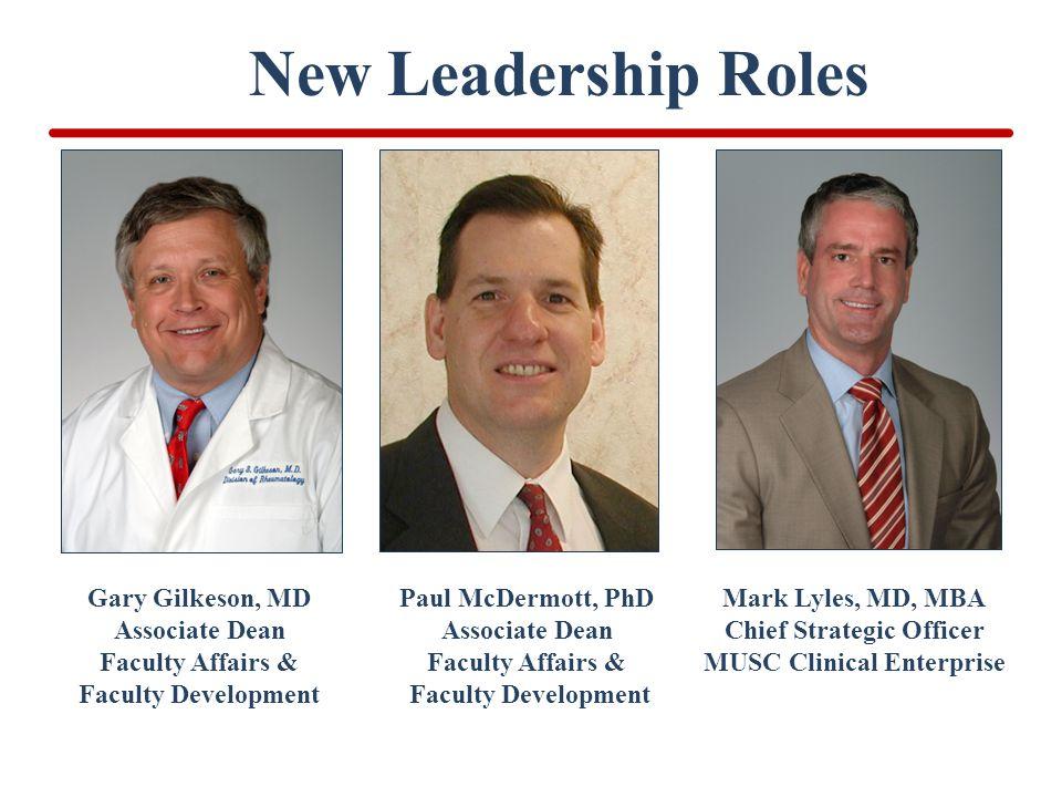 New Leadership Roles Gary Gilkeson, MD Associate Dean Faculty Affairs & Faculty Development Paul McDermott, PhD Associate Dean Faculty Affairs & Facul