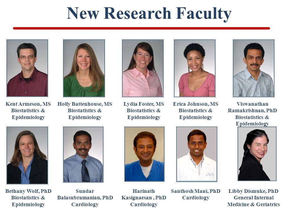 New Research Faculty Kent Armeson, MS Biostatistics & Epidemiology Viswanathan Ramakrishnan, PhD Biostatistics & Epidemiology Lydia Foster, MS Biostat