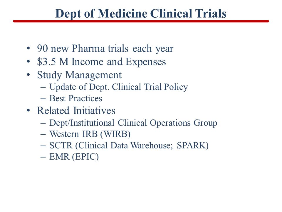 Dept of Medicine Clinical Trials 90 new Pharma trials each year $3.5 M Income and Expenses Study Management – Update of Dept. Clinical Trial Policy –