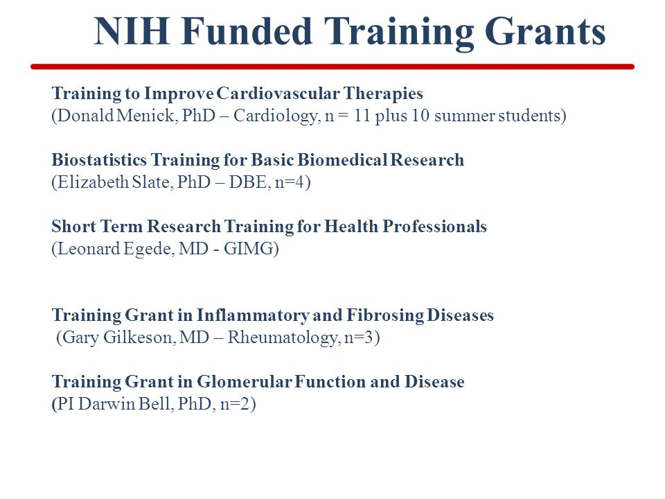 NIH Funded Training Grants Training to Improve Cardiovascular Therapies (Donald Menick, PhD – Cardiology, n = 11 plus 10 summer students) Biostatistic