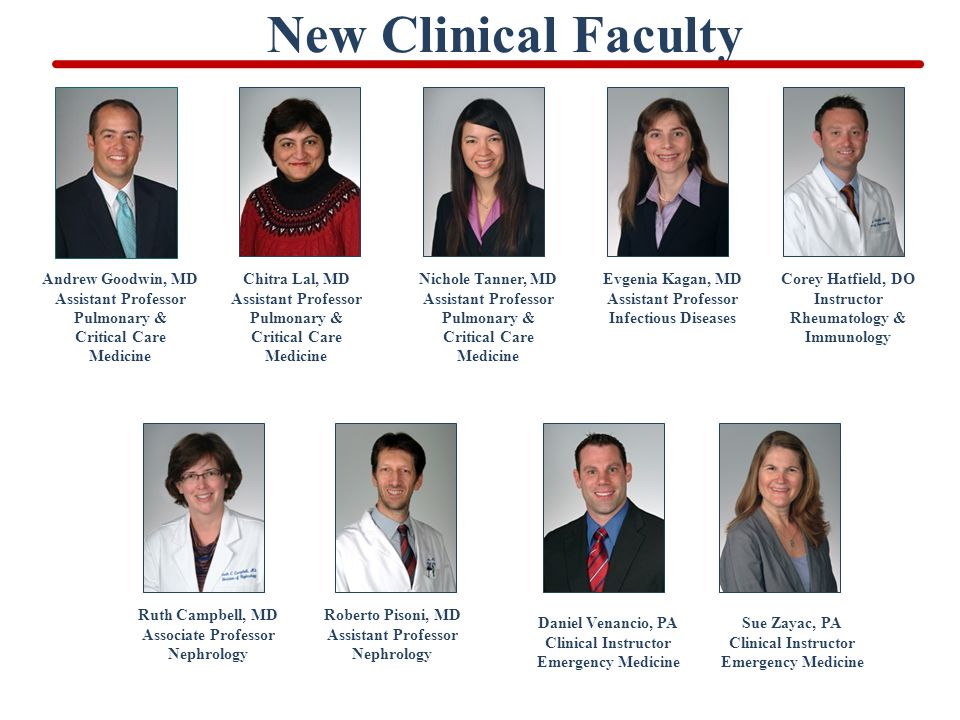 New Clinical Faculty Ruth Campbell, MD Associate Professor Nephrology Roberto Pisoni, MD Assistant Professor Nephrology Daniel Venancio, PA Clinical Instructor Emergency Medicine Sue Zayac, PA Clinical Instructor Emergency Medicine Andrew Goodwin, MD Assistant Professor Pulmonary & Critical Care Medicine Chitra Lal, MD Assistant Professor Pulmonary & Critical Care Medicine Nichole Tanner, MD Assistant Professor Pulmonary & Critical Care Medicine Evgenia Kagan, MD Assistant Professor Infectious Diseases Corey Hatfield, DO Instructor Rheumatology & Immunology