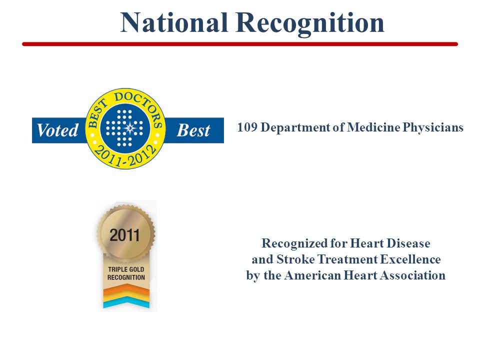 National Recognition 109 Department of Medicine Physicians Recognized for Heart Disease and Stroke Treatment Excellence by the American Heart Association