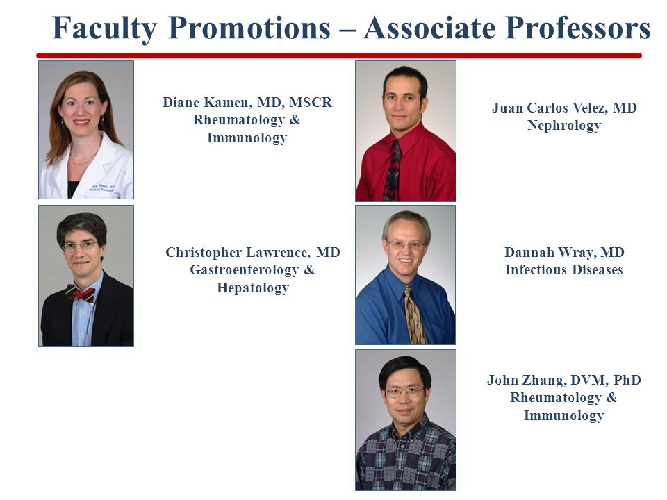 Faculty Promotions – Associate Professors Diane Kamen, MD, MSCR Rheumatology & Immunology Juan Carlos Velez, MD Nephrology Christopher Lawrence, MD Gastroenterology & Hepatology Dannah Wray, MD Infectious Diseases John Zhang, DVM, PhD Rheumatology & Immunology