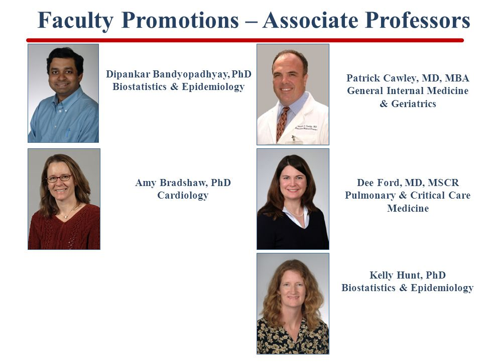 Faculty Promotions – Associate Professors Dipankar Bandyopadhyay, PhD Biostatistics & Epidemiology Patrick Cawley, MD, MBA General Internal Medicine & Geriatrics Amy Bradshaw, PhD Cardiology Dee Ford, MD, MSCR Pulmonary & Critical Care Medicine Kelly Hunt, PhD Biostatistics & Epidemiology