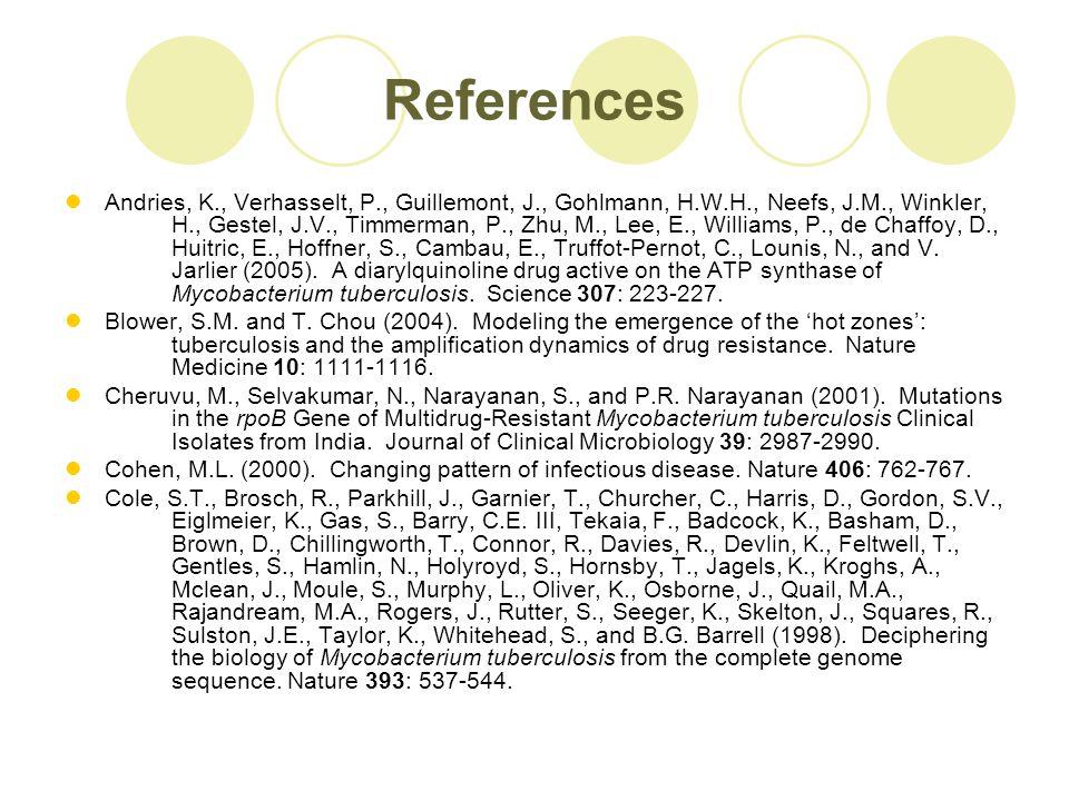 References Andries, K., Verhasselt, P., Guillemont, J., Gohlmann, H.W.H., Neefs, J.M., Winkler, H., Gestel, J.V., Timmerman, P., Zhu, M., Lee, E., Williams, P., de Chaffoy, D., Huitric, E., Hoffner, S., Cambau, E., Truffot-Pernot, C., Lounis, N., and V.