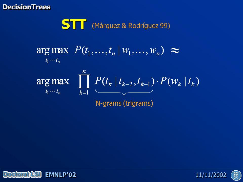 EMNLP'02 11/11/2002 STT N-grams (trigrams) (Màrquez & Rodríguez 99) DecisionTrees