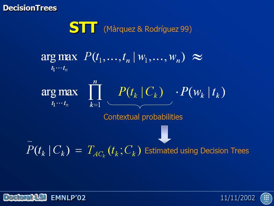 EMNLP'02 11/11/2002 STT Contextual probabilities (Màrquez & Rodríguez 99) Estimated using Decision Trees DecisionTrees