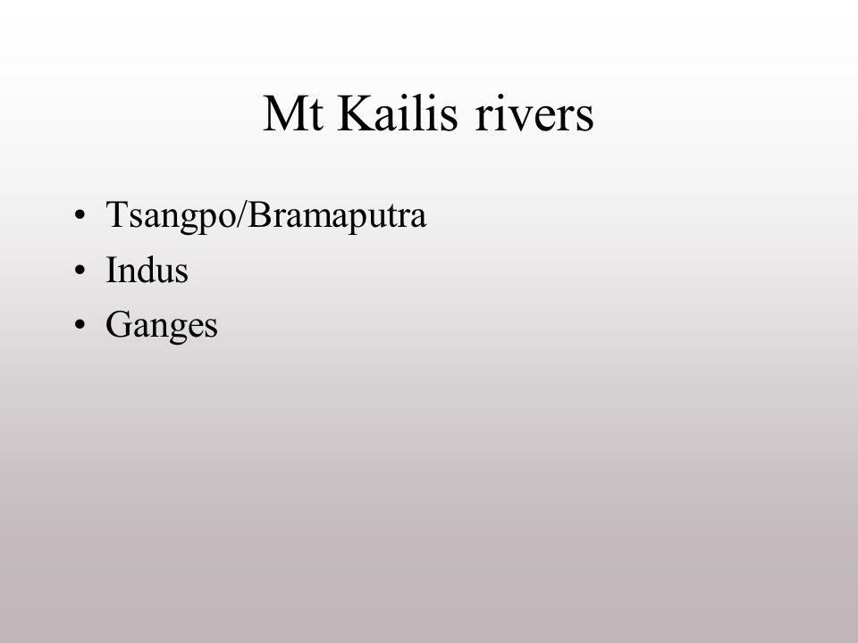 Mt Kailis rivers Tsangpo/Bramaputra Indus Ganges