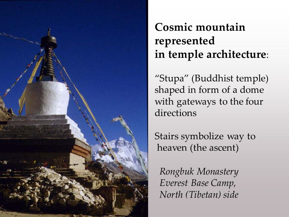 Cosmic mountain represented in temple architecture : Stupa (Buddhist temple) shaped in form of a dome with gateways to the four directions Stairs symbolize way to heaven (the ascent) Rongbuk Monastery Everest Base Camp, North (Tibetan) side