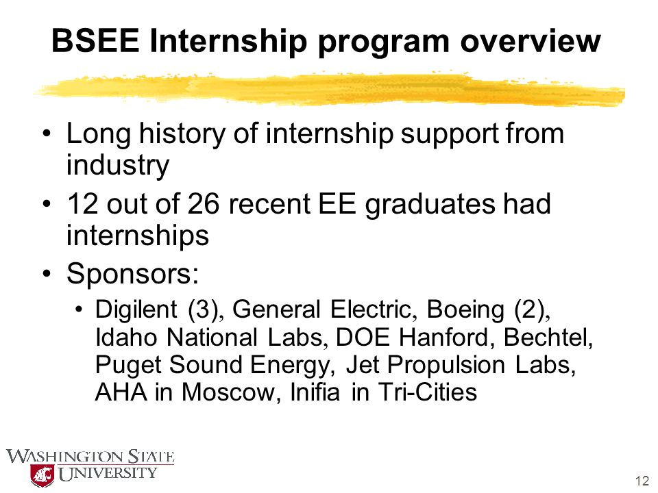12 BSEE Internship program overview Long history of internship support from industry 12 out of 26 recent EE graduates had internships Sponsors: Digile