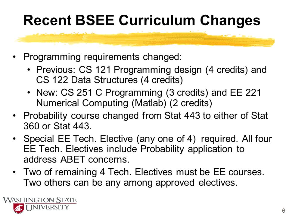 6 Recent BSEE Curriculum Changes Programming requirements changed: Previous: CS 121 Programming design (4 credits) and CS 122 Data Structures (4 credi