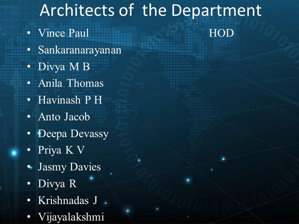 Architects of the Department Vince Paul HOD Sankaranarayanan Divya M B Anila Thomas Havinash P H Anto Jacob Deepa Devassy Priya K V Jasmy Davies Divya R Krishnadas J Vijayalakshmi