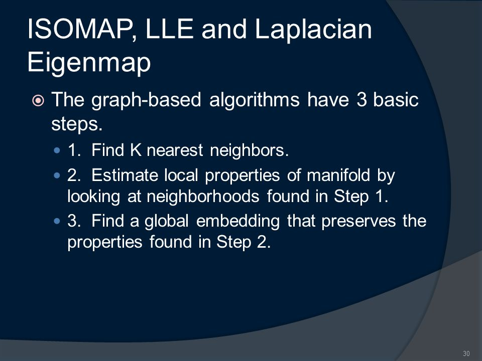 ISOMAP, LLE and Laplacian Eigenmap  The graph-based algorithms have 3 basic steps.