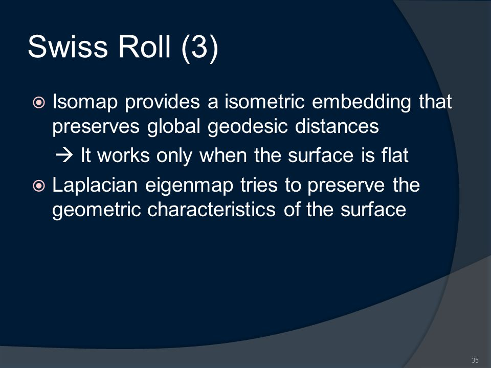 Swiss Roll (3)  Isomap provides a isometric embedding that preserves global geodesic distances  It works only when the surface is flat  Laplacian eigenmap tries to preserve the geometric characteristics of the surface 35