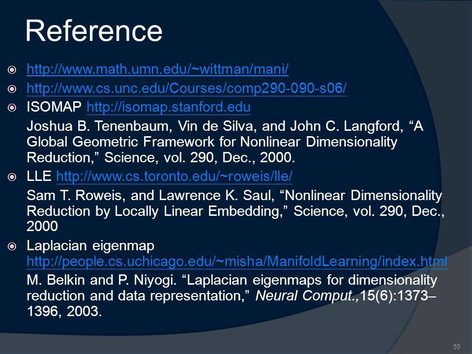 Reference  http://www.math.umn.edu/~wittman/mani/ http://www.math.umn.edu/~wittman/mani/  http://www.cs.unc.edu/Courses/comp290-090-s06/ http://www.cs.unc.edu/Courses/comp290-090-s06/  ISOMAP http://isomap.stanford.eduhttp://isomap.stanford.edu Joshua B.