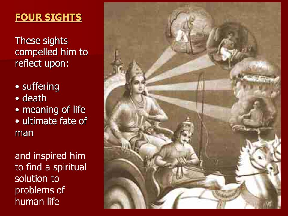 FOUR SIGHTS These sights compelled him to reflect upon: suffering suffering death death meaning of life meaning of life ultimate fate of man ultimate fate of man and inspired him to find a spiritual solution to problems of human life