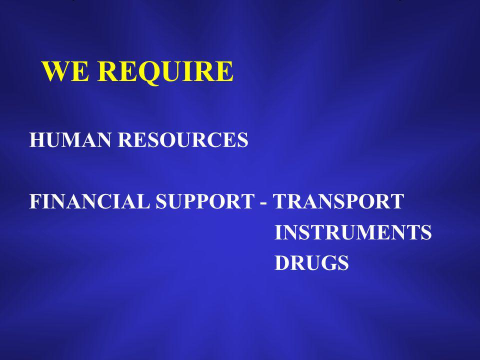WE REQUIRE HUMAN RESOURCES FINANCIAL SUPPORT - TRANSPORT INSTRUMENTS DRUGS