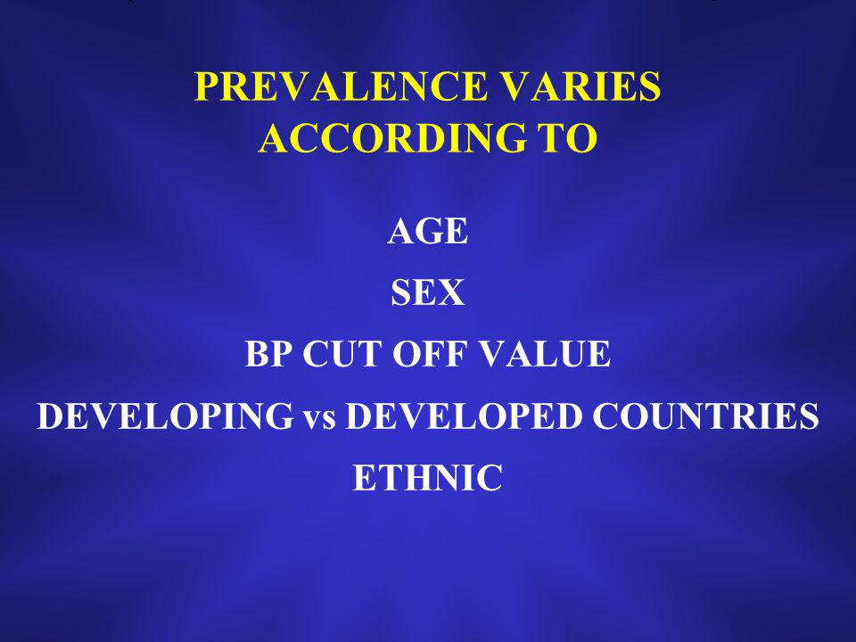 PREVALENCE VARIES ACCORDING TO AGE SEX BP CUT OFF VALUE DEVELOPING vs DEVELOPED COUNTRIES ETHNIC
